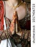 indian bride hands | Shutterstock . vector #1017406723