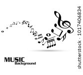 abstract music notes on white... | Shutterstock .eps vector #1017406834