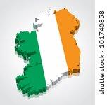 3d vector flag map of ireland | Shutterstock .eps vector #101740858