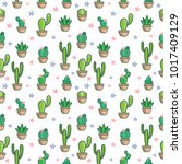 cactus doodle seamless pattern... | Shutterstock .eps vector #1017409129