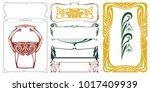 vector plant vignette and...   Shutterstock .eps vector #1017409939