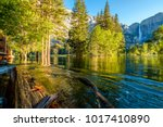 merced river and yosemite falls ... | Shutterstock . vector #1017410890