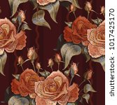 embroidery vintage roses vector ... | Shutterstock .eps vector #1017425170