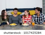 group of talking caucasian and... | Shutterstock . vector #1017425284