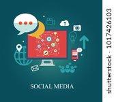 social media theme  flat style  ...   Shutterstock .eps vector #1017426103