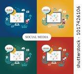 social media theme  flat style  ...   Shutterstock .eps vector #1017426106