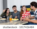 group of young adult people... | Shutterstock . vector #1017426484