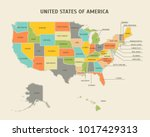 cartoon colorful usa map with... | Shutterstock .eps vector #1017429313