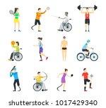 cartoon disabled sports...   Shutterstock .eps vector #1017429340