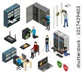 server hardware signs icons set ... | Shutterstock .eps vector #1017429403