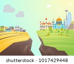 cartoon poverty and richness... | Shutterstock .eps vector #1017429448