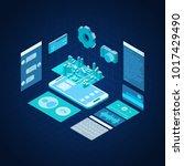 mobile phone concept 3d... | Shutterstock .eps vector #1017429490
