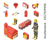 firefighter man and equipment... | Shutterstock .eps vector #1017429496