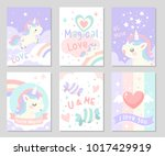 cute unicorn with rainbow cloud ... | Shutterstock .eps vector #1017429919