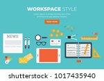 workplace equipment on desk top ... | Shutterstock .eps vector #1017435940