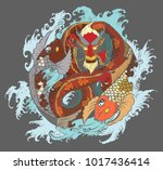 dragon koi fish with water... | Shutterstock .eps vector #1017436414