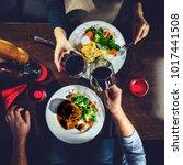 couple having romantic dinner... | Shutterstock . vector #1017441508