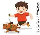 a boy going to take the dog for ... | Shutterstock .eps vector #1017442000