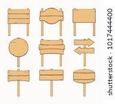 wooden handdrawn signboards... | Shutterstock .eps vector #1017444400