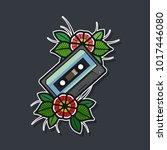 vector audio cassette with... | Shutterstock .eps vector #1017446080