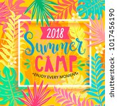 summer camp 2018 handdrawn... | Shutterstock .eps vector #1017456190
