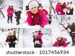 winter. cute children having... | Shutterstock . vector #1017456934