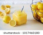 jar of homemade lemon curd....   Shutterstock . vector #1017460180