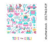 toys for little princesses. big ... | Shutterstock .eps vector #1017461419