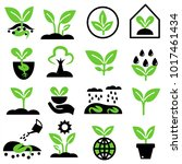 plant and sprout icon set.... | Shutterstock .eps vector #1017461434