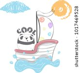 cute panda cartoon hand drawn... | Shutterstock .eps vector #1017469528