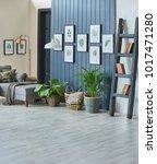 modern living room blue details ... | Shutterstock . vector #1017471280