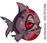 pirana fish character | Shutterstock .eps vector #1017471586