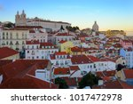 panorama of alfama  the oldest... | Shutterstock . vector #1017472978