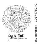 black line party doodle... | Shutterstock .eps vector #1017475240