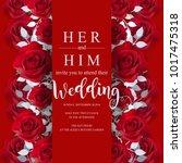 wedding invitation card... | Shutterstock .eps vector #1017475318