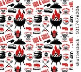 seamless pattern with steak... | Shutterstock .eps vector #1017476206