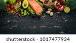 healthy food. fish salmon ... | Shutterstock . vector #1017477934
