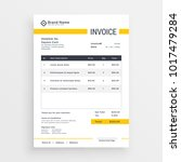 minimal yellow invoice template ... | Shutterstock .eps vector #1017479284