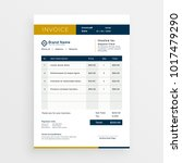 vector clean invoice template... | Shutterstock .eps vector #1017479290