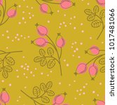 seamless pattern with rose hip... | Shutterstock .eps vector #1017481066