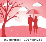 concept of valentine day   two... | Shutterstock .eps vector #1017484258