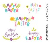 happy easter hand drawn... | Shutterstock .eps vector #1017486778