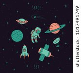 hand drawn vector space...   Shutterstock .eps vector #1017491749