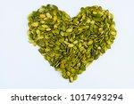 heart shape made from peeled... | Shutterstock . vector #1017493294