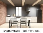 brick and concrete dining room... | Shutterstock . vector #1017493438