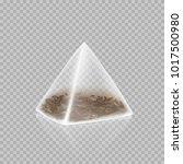 tea bag pyramid shape isolated... | Shutterstock .eps vector #1017500980