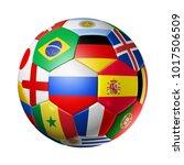 3d football soccer ball with... | Shutterstock . vector #1017506509