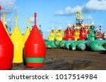 buoys aligned on the ground for ... | Shutterstock . vector #1017514984