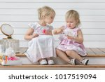 two little girls play in the...   Shutterstock . vector #1017519094