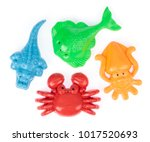 plastic animal of beach toys... | Shutterstock . vector #1017520693